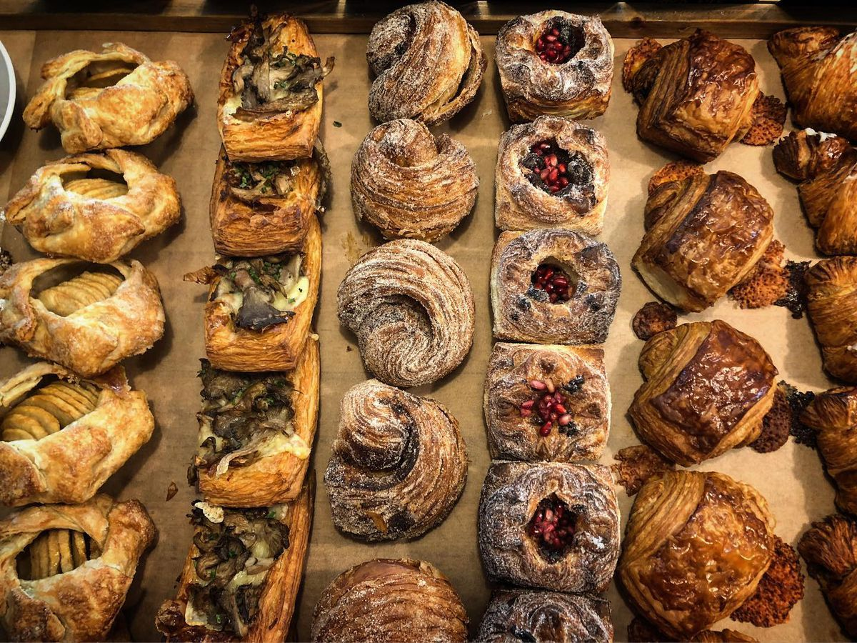 Rows of flaky pastries