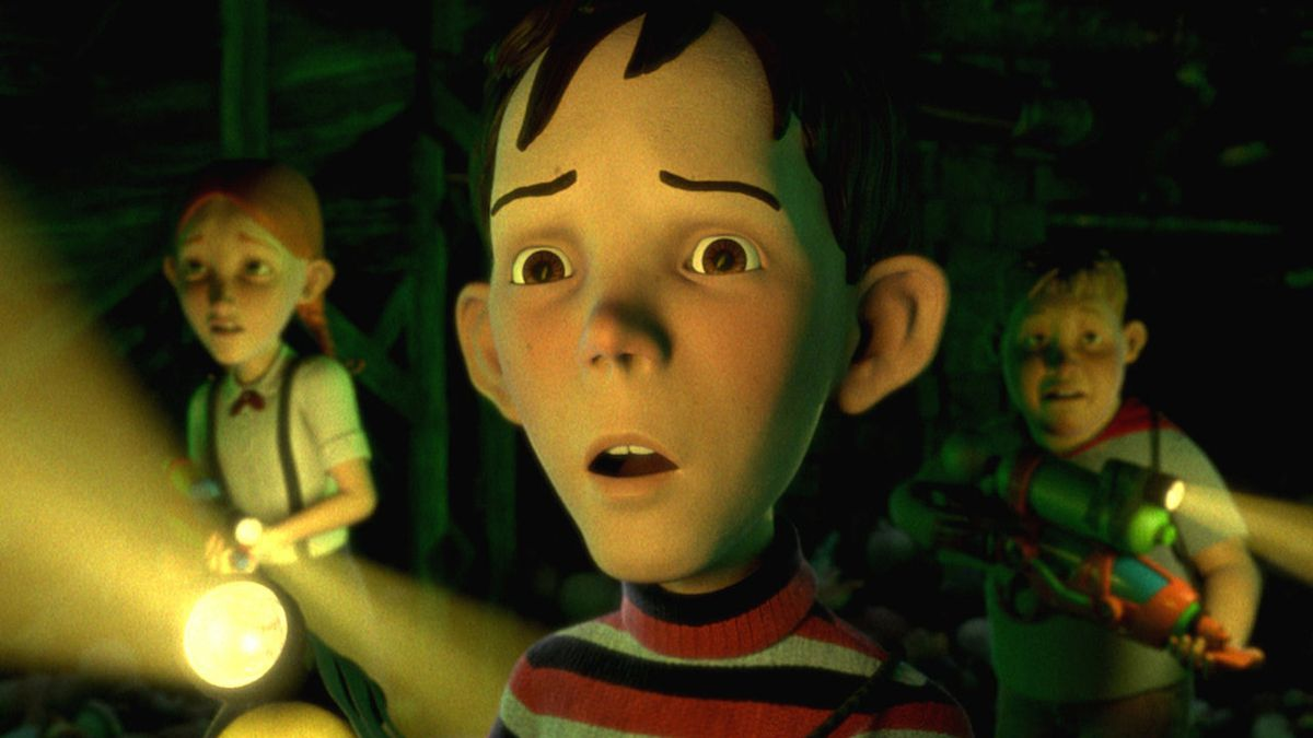 Jenny (Spencer Locke), D.J (Mitchel Musso), and Charles (Sam Lerner) look on in horror in Monster House.