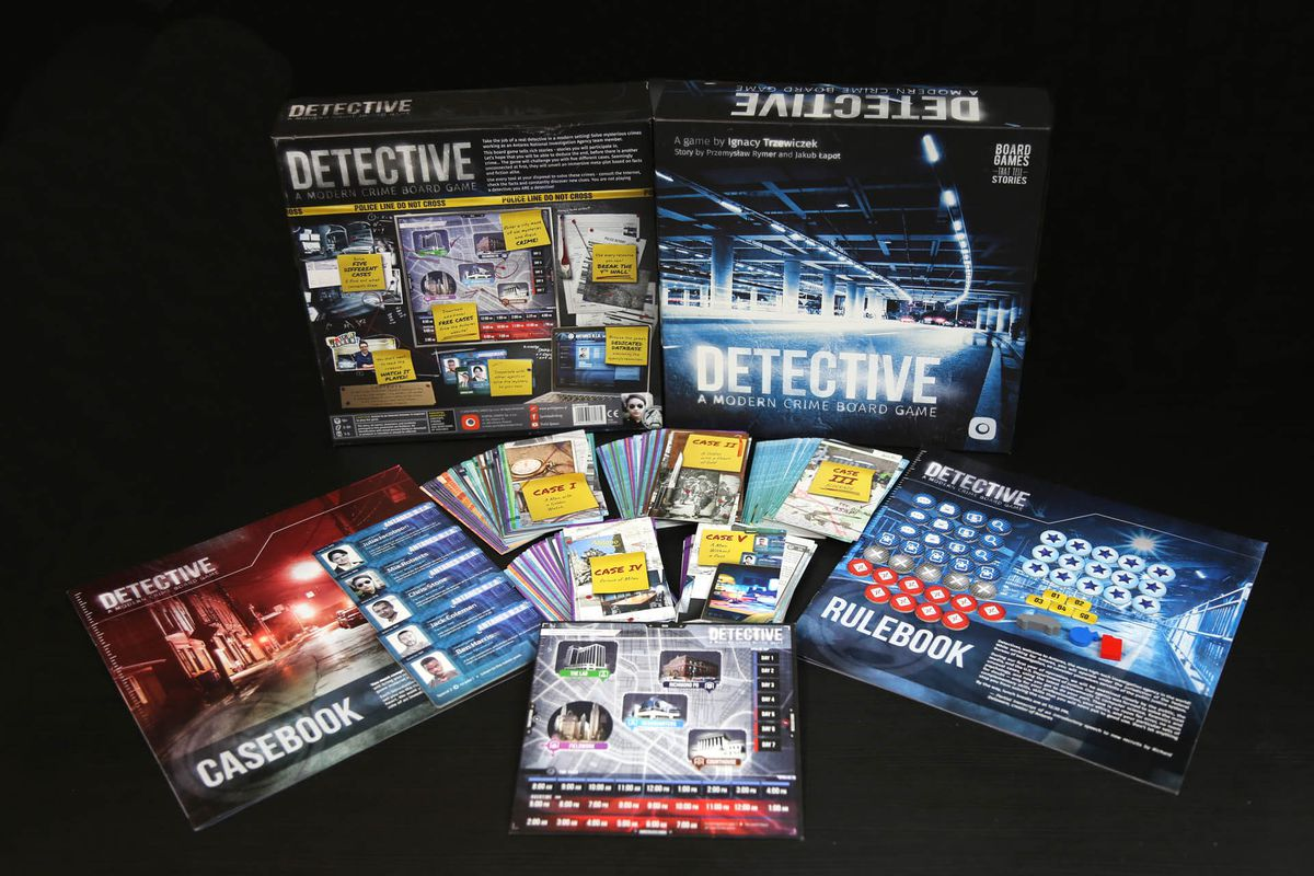 Gen Con 2018 — An unboxing of Detective shows off cards from each of the five included cases.