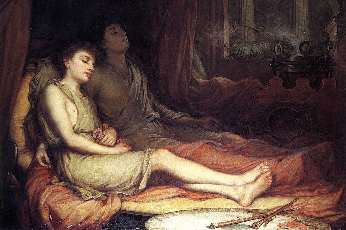 John William Waterhouse's <i>Sleep and his Half Brother Death</i>.