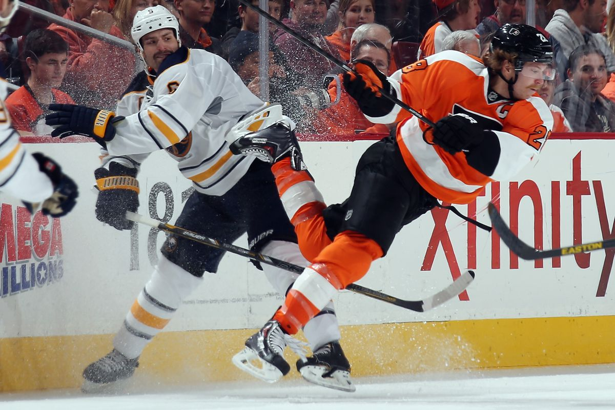 Mike Weber and Claude Giroux, seen here ice dancing.