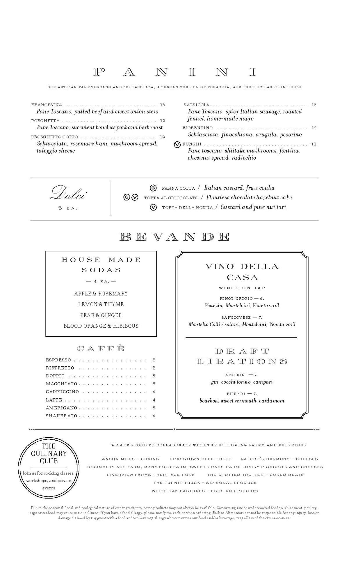 Bellina Alimentari menu 2