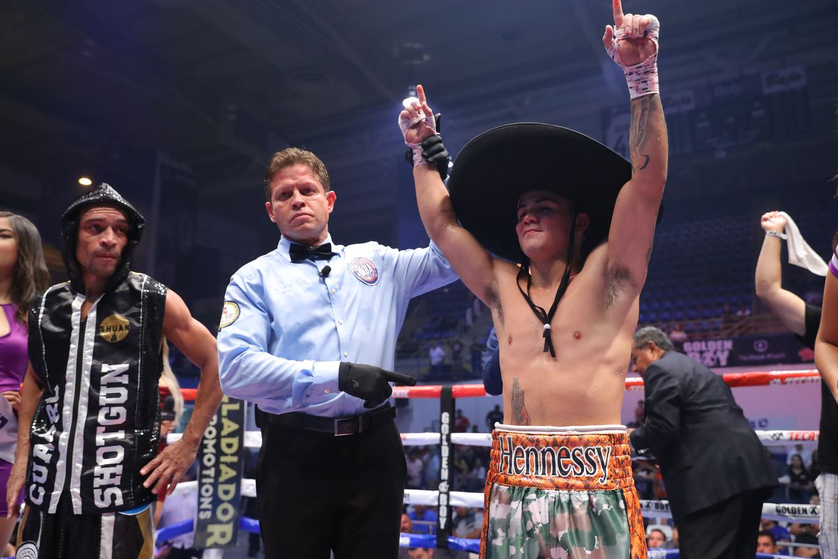 Joseph Diaz Jr. poses after his victory over Jesus Cuadro during his super featherweight bout at the Auditorio del Estado on September 21, 2019 in Mexicali, Mexico.