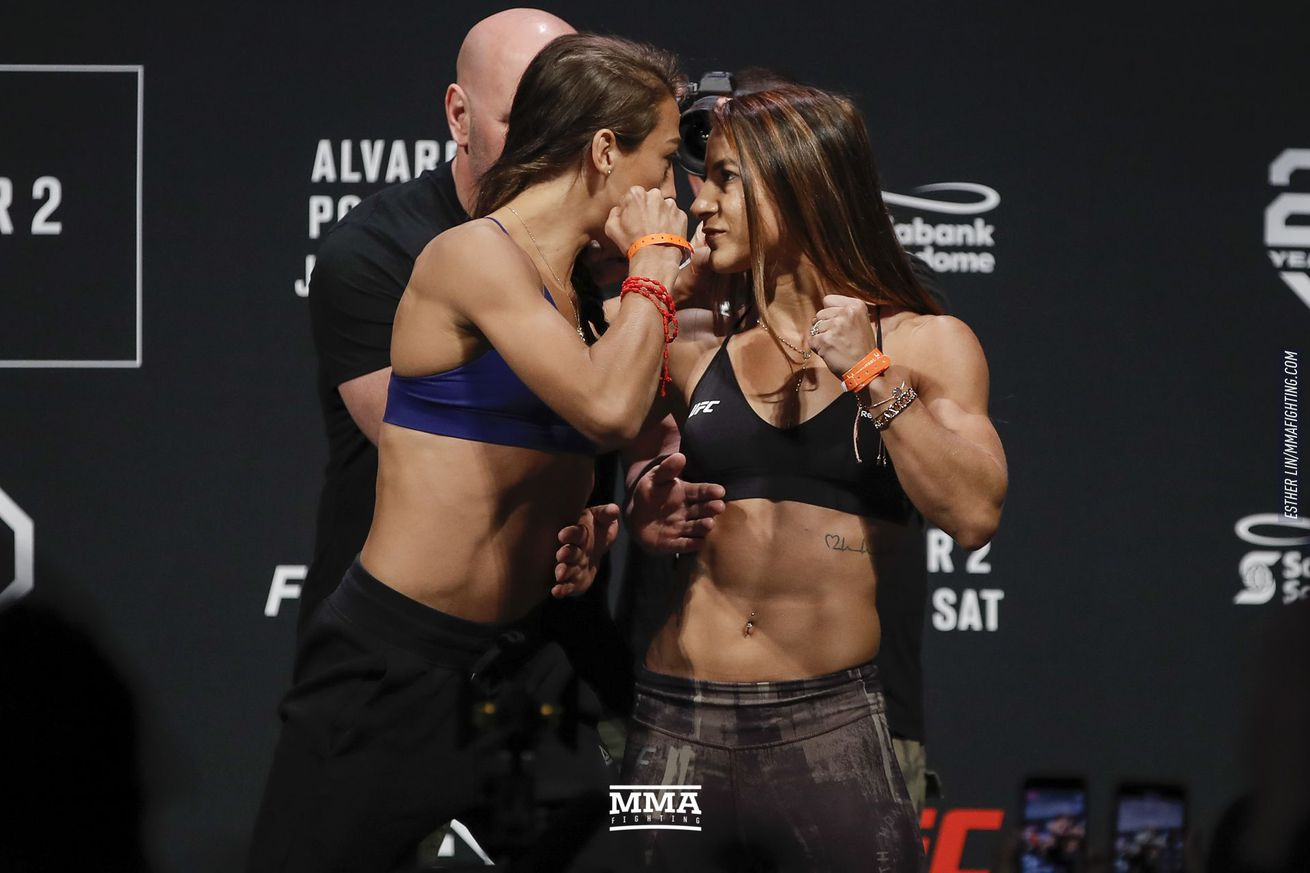 Joanna Jedrzejczyk faces off with Tecia Torres ahead of their UFC on FOX 30 bout on Saturday at the Scotiabank Saddledome in Calgary, Alberta