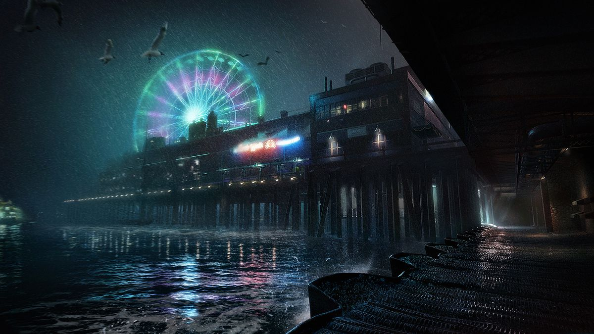 Concept art of a Seattle pier for Vampire: The Masquerade — Bloodlines 2.