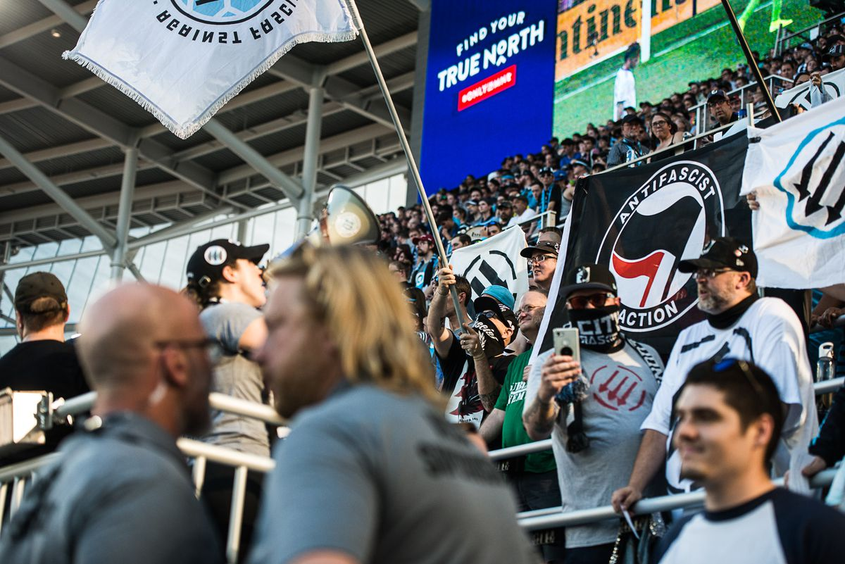 September 15, 2019 - Saint Paul, Minnesota, United States - Supports protest an MLS ban on political images by showing Antifa flags and Iron Front banners during an MLS match between Minnesota United and Real Salt Lake at Allianz Field