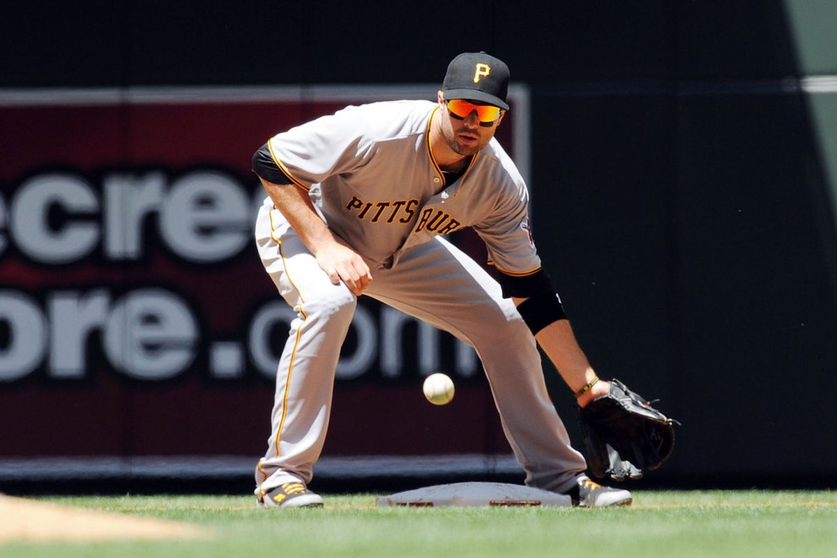 PHOENIX, AZ - APRIL 18:  Neil Walker #18 of the Pittsburgh Pirates gets the throw from the catcher against the Arizona Diamondbacks at Chase Field on April 18, 2012 in Phoenix, Arizona.  (Photo by Norm Hall/Getty Images)