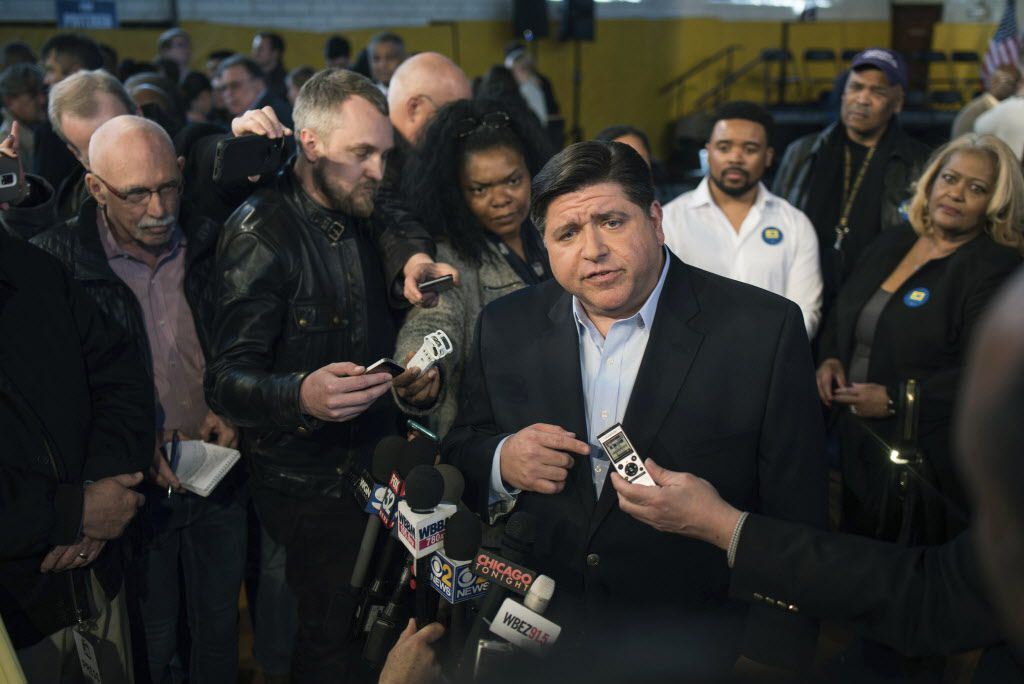 JB Pritzker speaks with the media after announcing his run for Illinois governor Thursday, April 6, 2017, in Chicago. File Photo. (Max Herman /Chicago Sun-Times via AP)