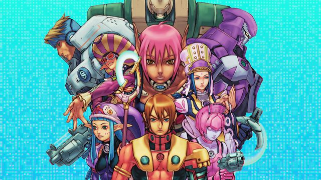 Graphic artwork featuring a montage of characters from the video game Phantasy Star Online over a bright blue pixelated background