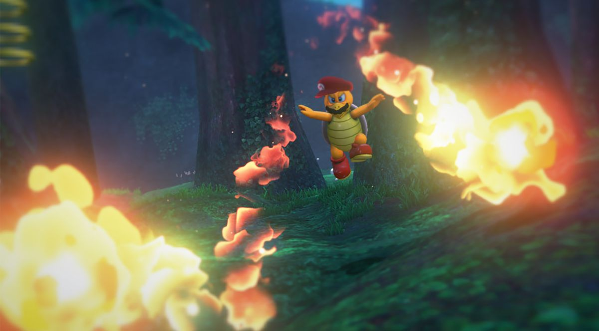 Super Mario Odyssey - Mario-captured Koopa Troopa in forest with fire