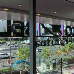 Looking out from Taco Bell Cantina's dining room
