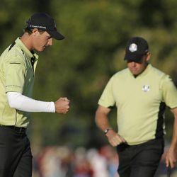 Europe's Nicolas Colsaerts reacts after making a birdie on the 15th hole during a four-ball match at the Ryder Cup PGA golf tournament Friday, Sept. 28, 2012, at the Medinah Country Club in Medinah, Ill.