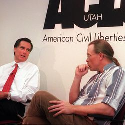 April 5, 1999--Mitt Romney meets with Glenn Bailey, from the crossroads urban center and other Olympic critics at the ACLU offices.