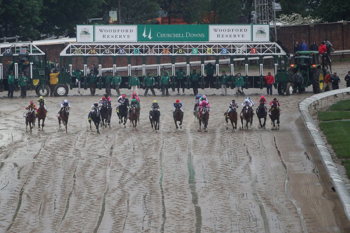 A general view at the start during the 145th running of the Kentucky Derby at Churchill Downs.