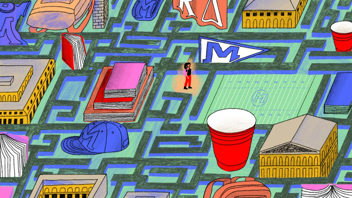 Illustration of a lonely girl lost in a maze that resembles a college campus.