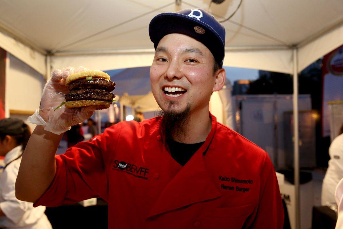 Keizo Shimamoto and his ramen burger