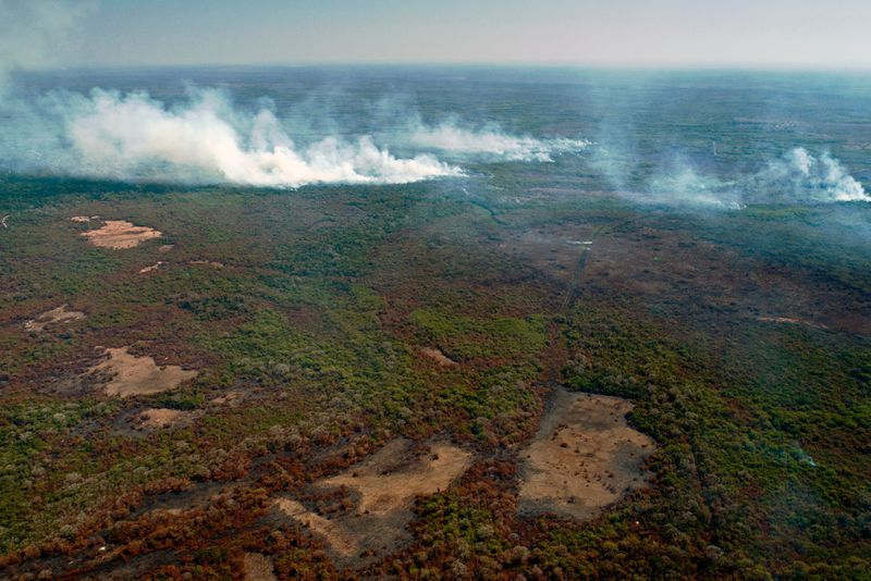 Aerial view showing large-scale forest fires in the Pantanal region of Brazil