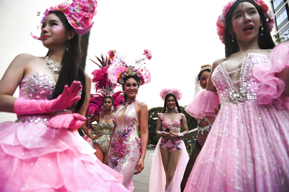 November 29: Transgender performers participate in a rally advocating gay rights in Bangkok, Thailand. (Lillian Suwanrumpha/AFP/Getty Images)