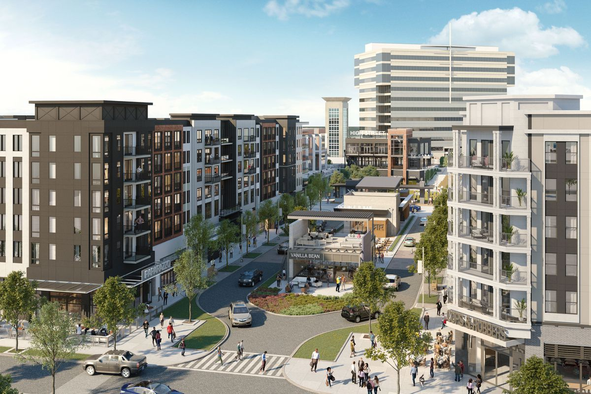 A rendering shows mid-rise buildings surrounding a pedestrian plaza.