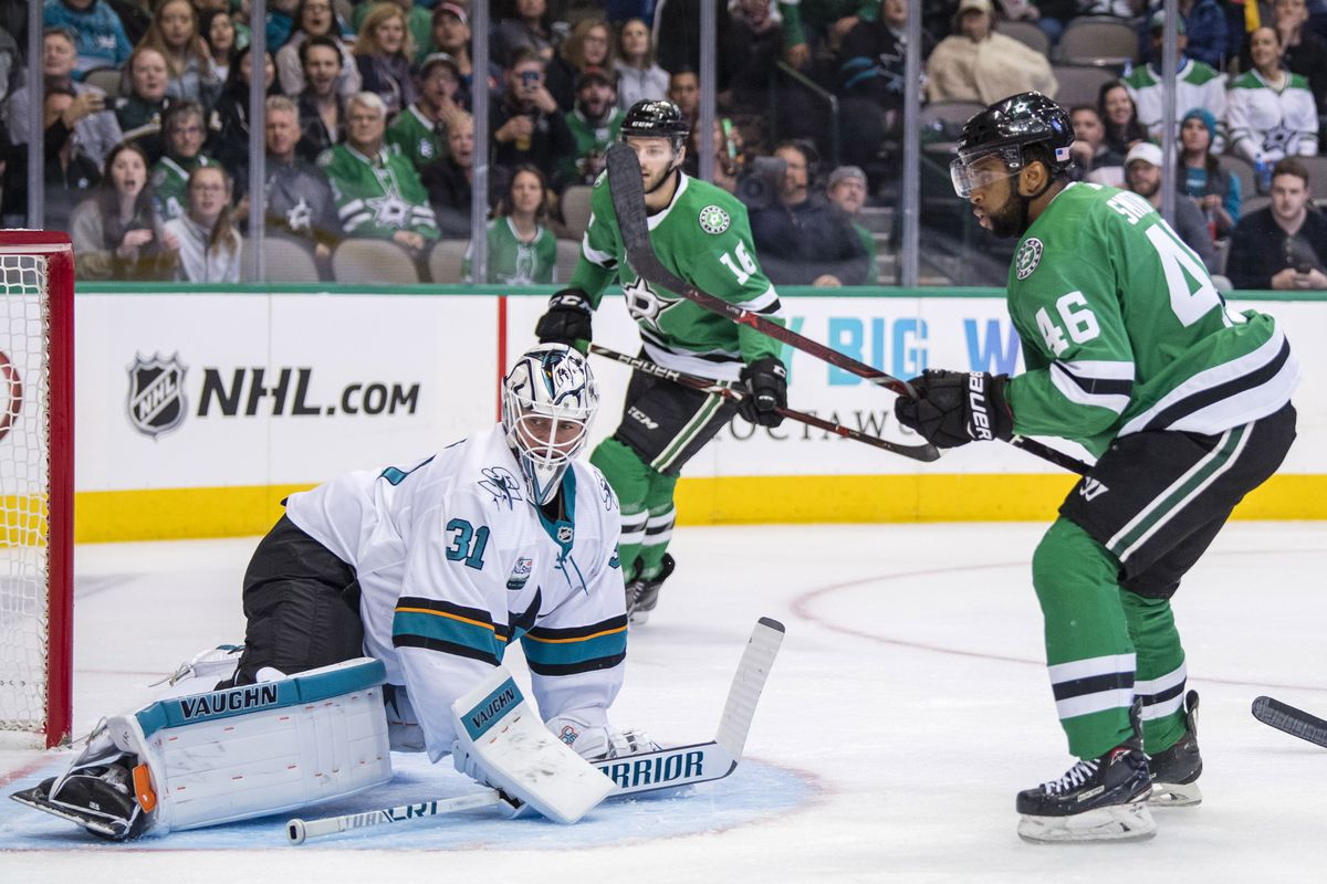 Nov 8, 2018; Dallas, TX, USA; Dallas Stars center Gemel Smith (46) scores a goal against San Jose Sharks goaltender Martin Jones (31) during the second period at the American Airlines Center.