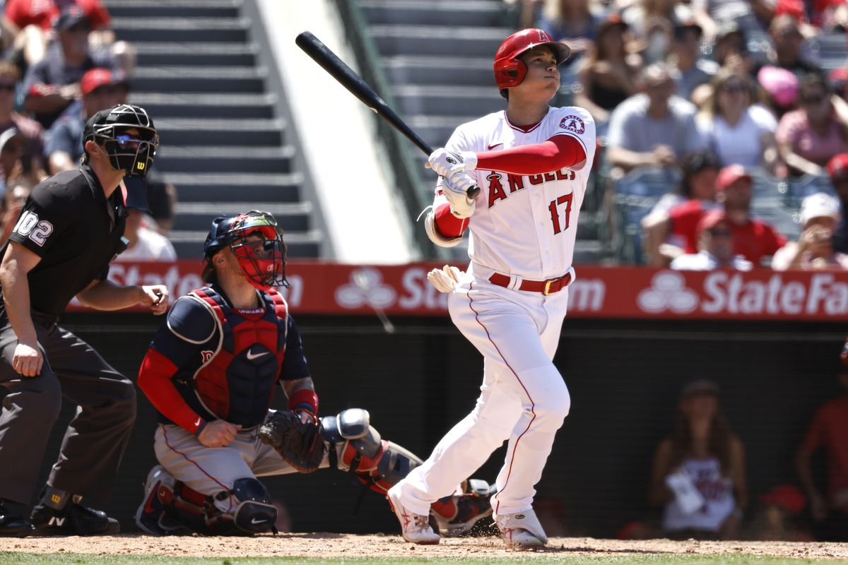 Shohei Ohtani #17 of the Los Angeles Angels hits a solo home run against the Boston Red Sox during the fifth inning at Angel Stadium of Anaheim on July 07, 2021 in Anaheim, California.