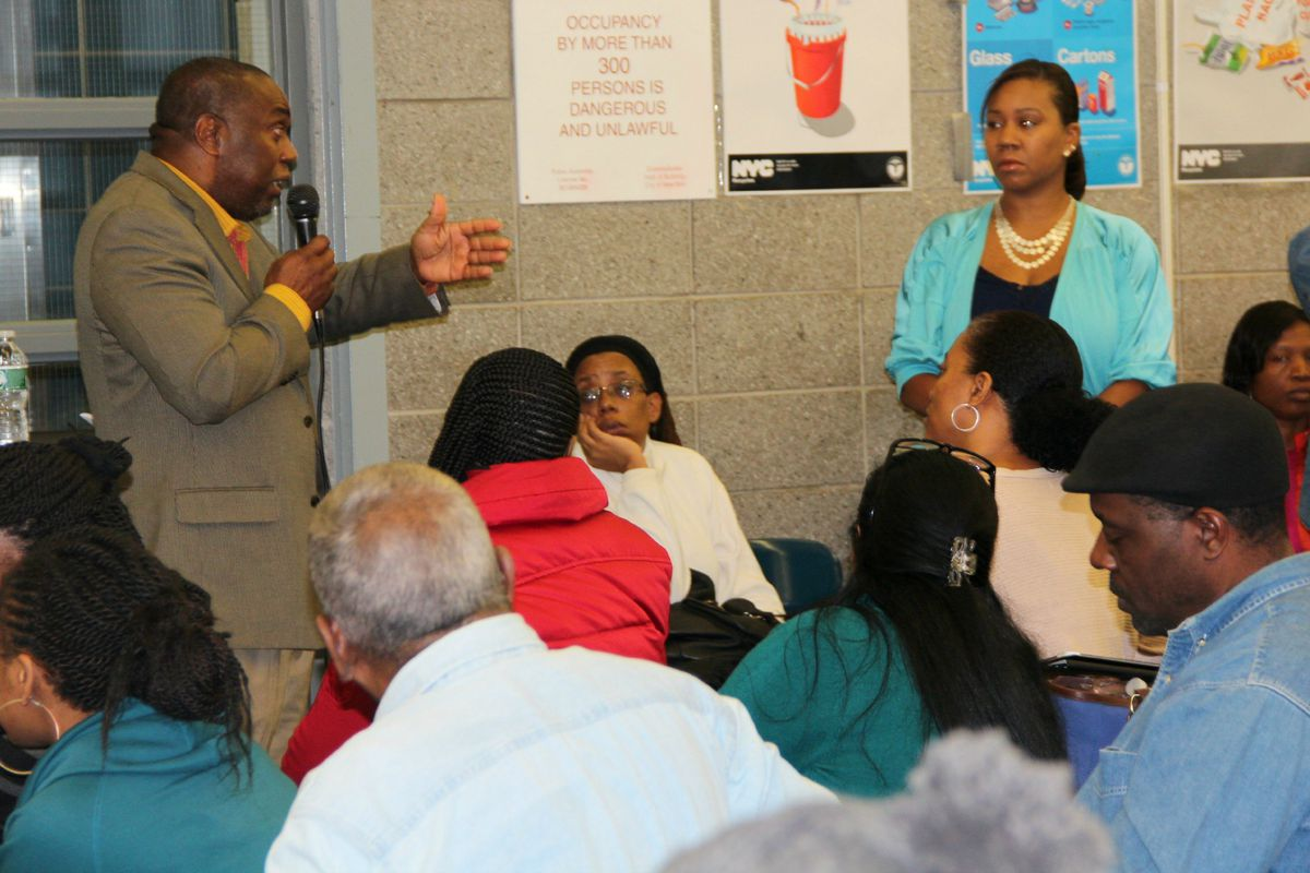 After Principal Michael Wiltshire (left) pitched his co-location plan, many parents raised concerns.