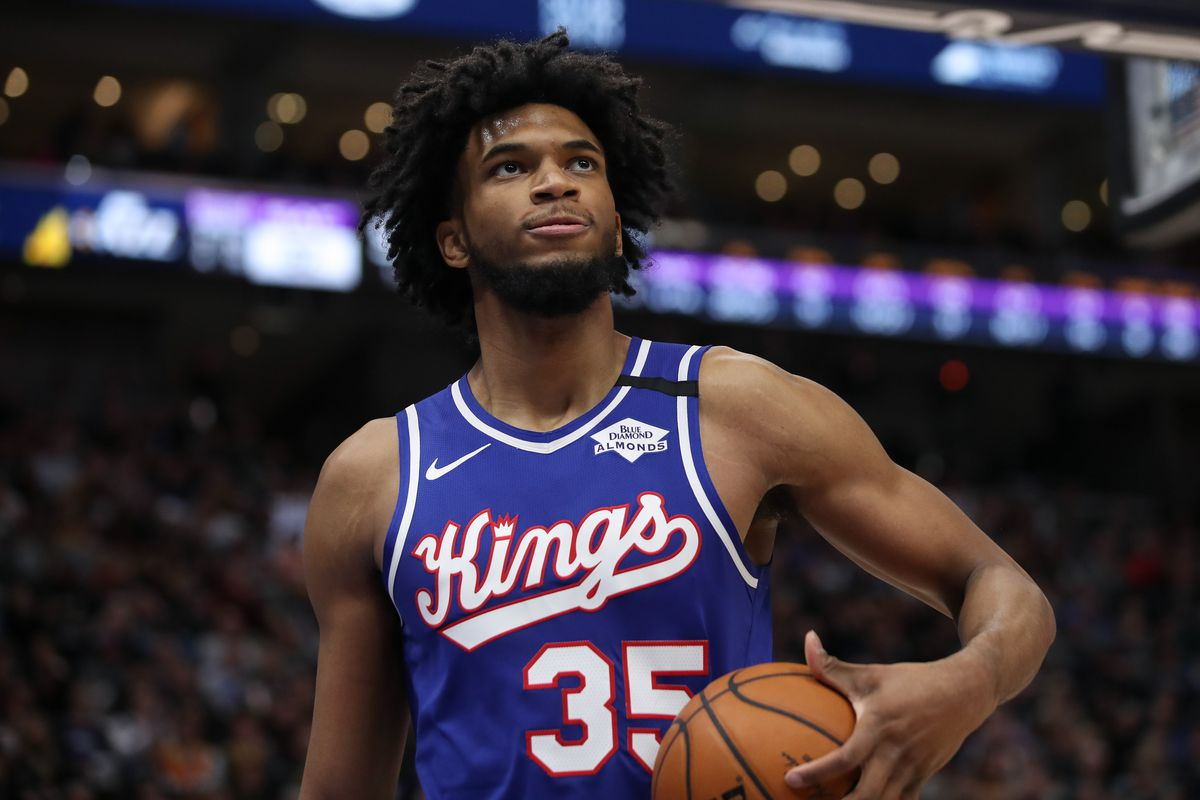 Sacramento Kings forward Marvin Bagley III looks at the reply board after being called for a foul against the Utah Jazz during the third quarter at Vivint Smart Home Arena. The Jazz won 123-102.