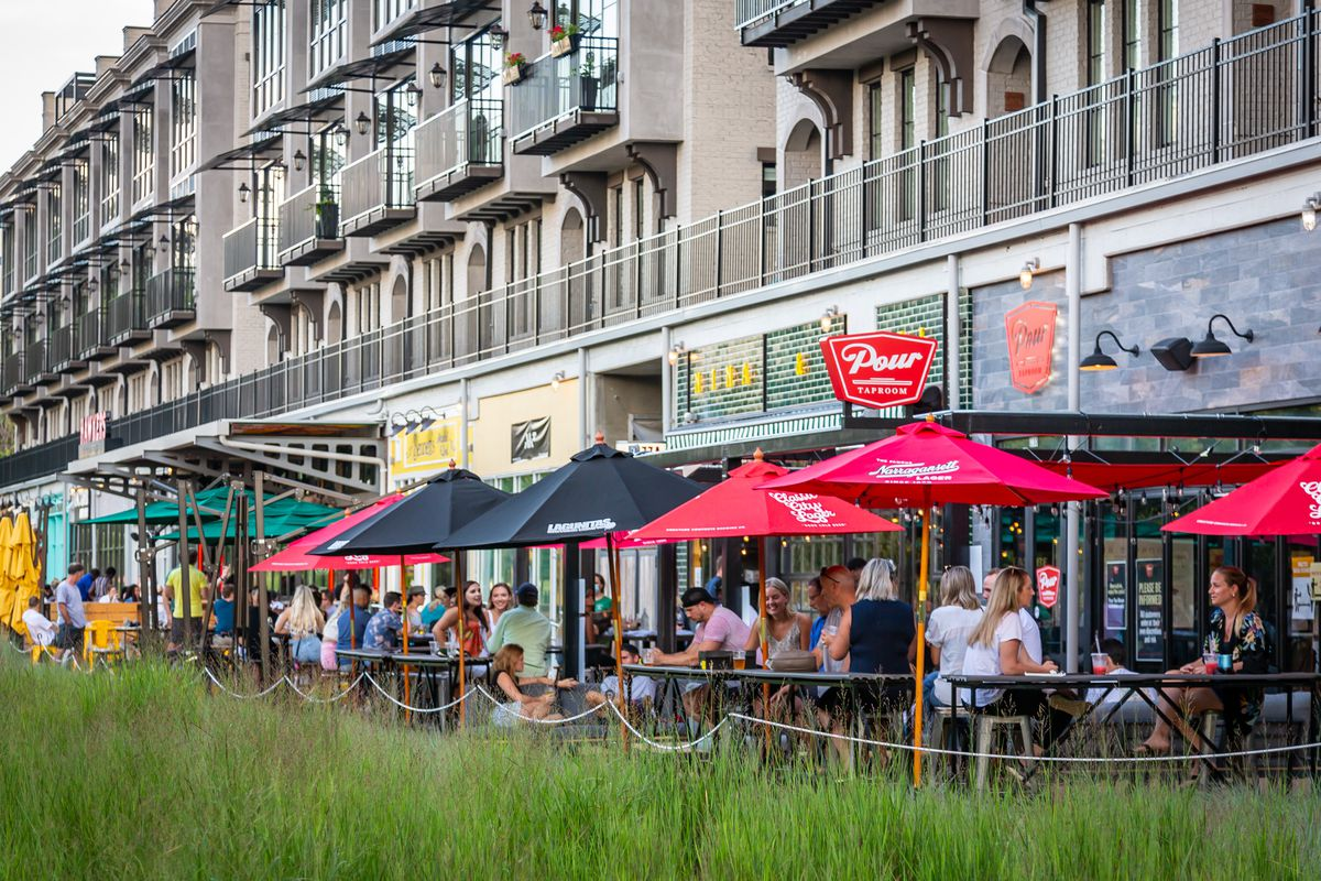 Restaurant patios along the Eastside Beltline at SPX Alley in the Old Fourth Ward, Atlanta