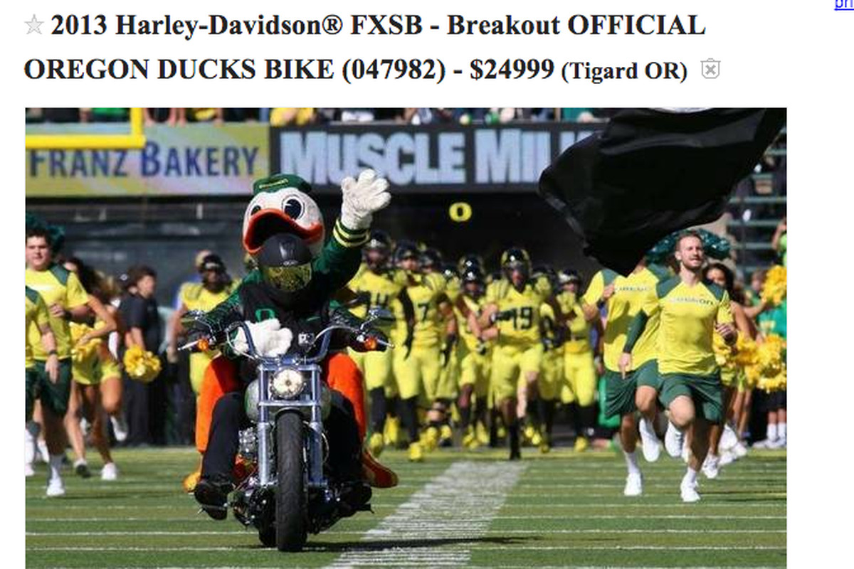 You can buy the Oregon Duck's custom motorcycle on