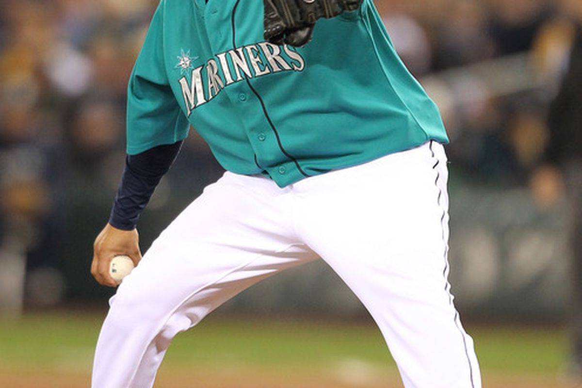 """Felix Hernandez defeated the White Sox 3-2 Friday.  He was overheard saying """"thank God that Anderson kid is pitching in the minor leagues"""".  (Photo by Otto Greule Jr/Getty Images)"""