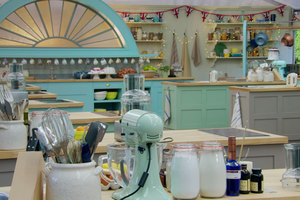The inside of the Great British Bake Off tent, ready for action.
