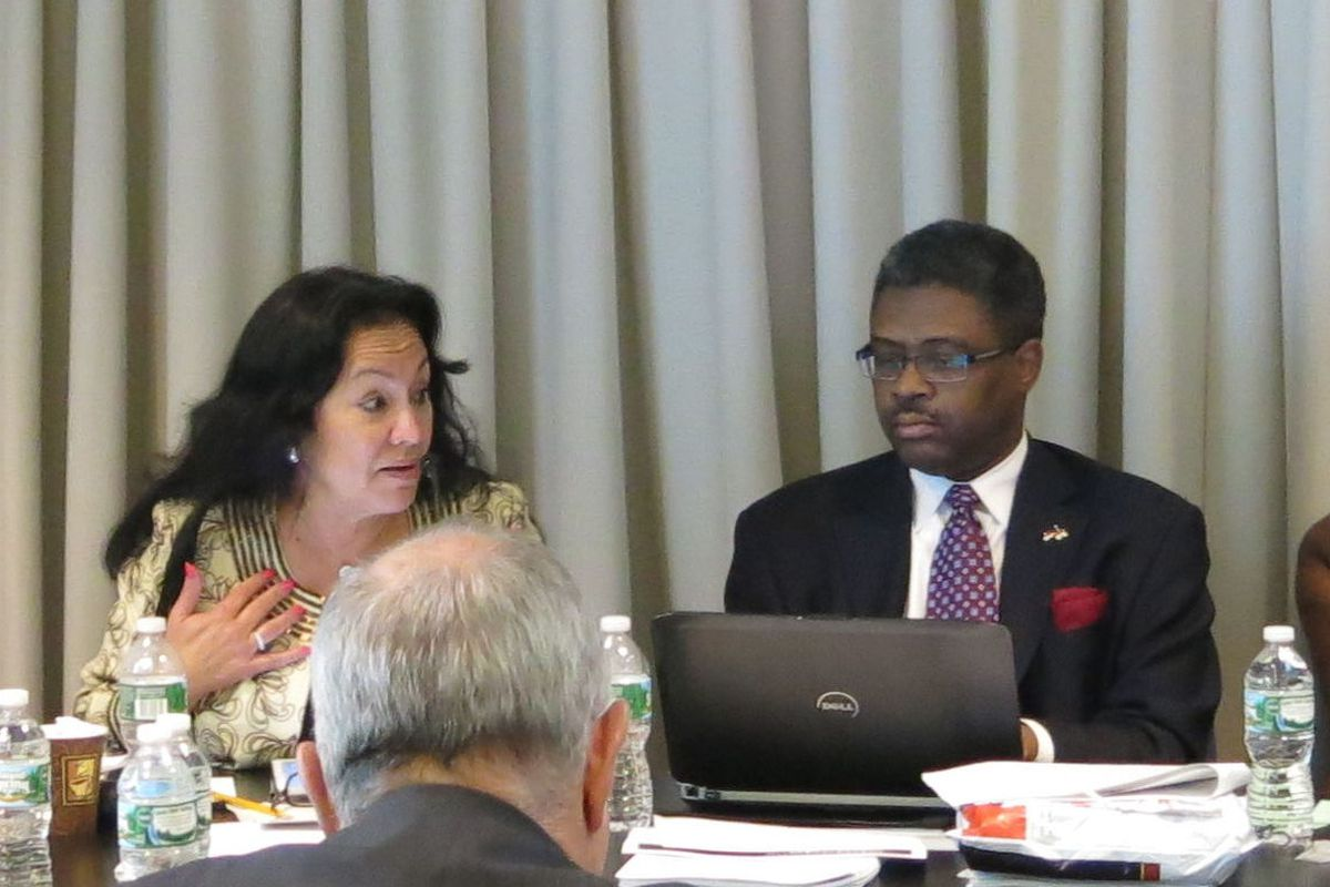 Chancellor Betty Rosa discusses teacher evaluations during a Board of Regents meeting.