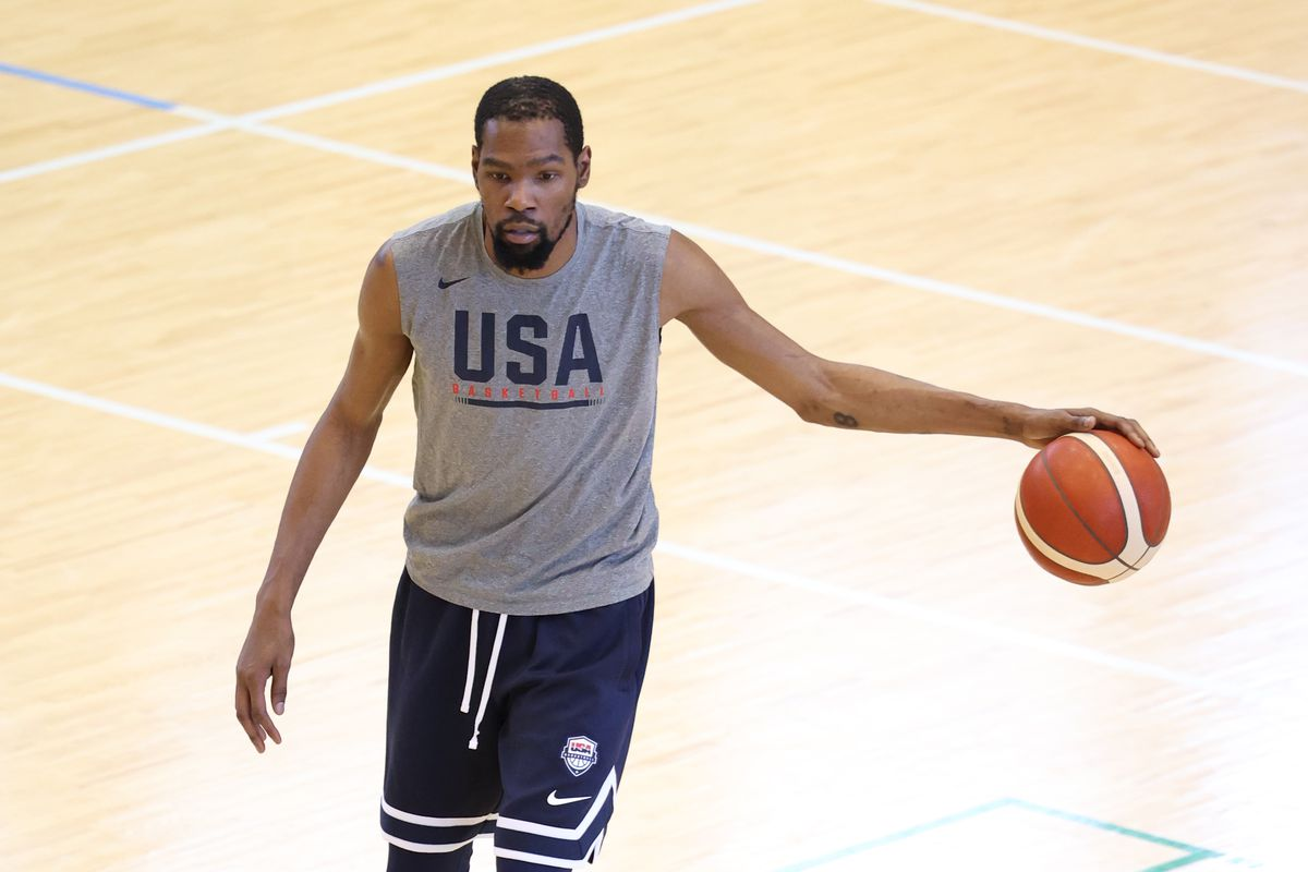 Kevin Durant #7 of the USA Men's National Team dribbles the ball during the USA Men's National Team practice on August 6, 2021 in Tokyo, Japan.