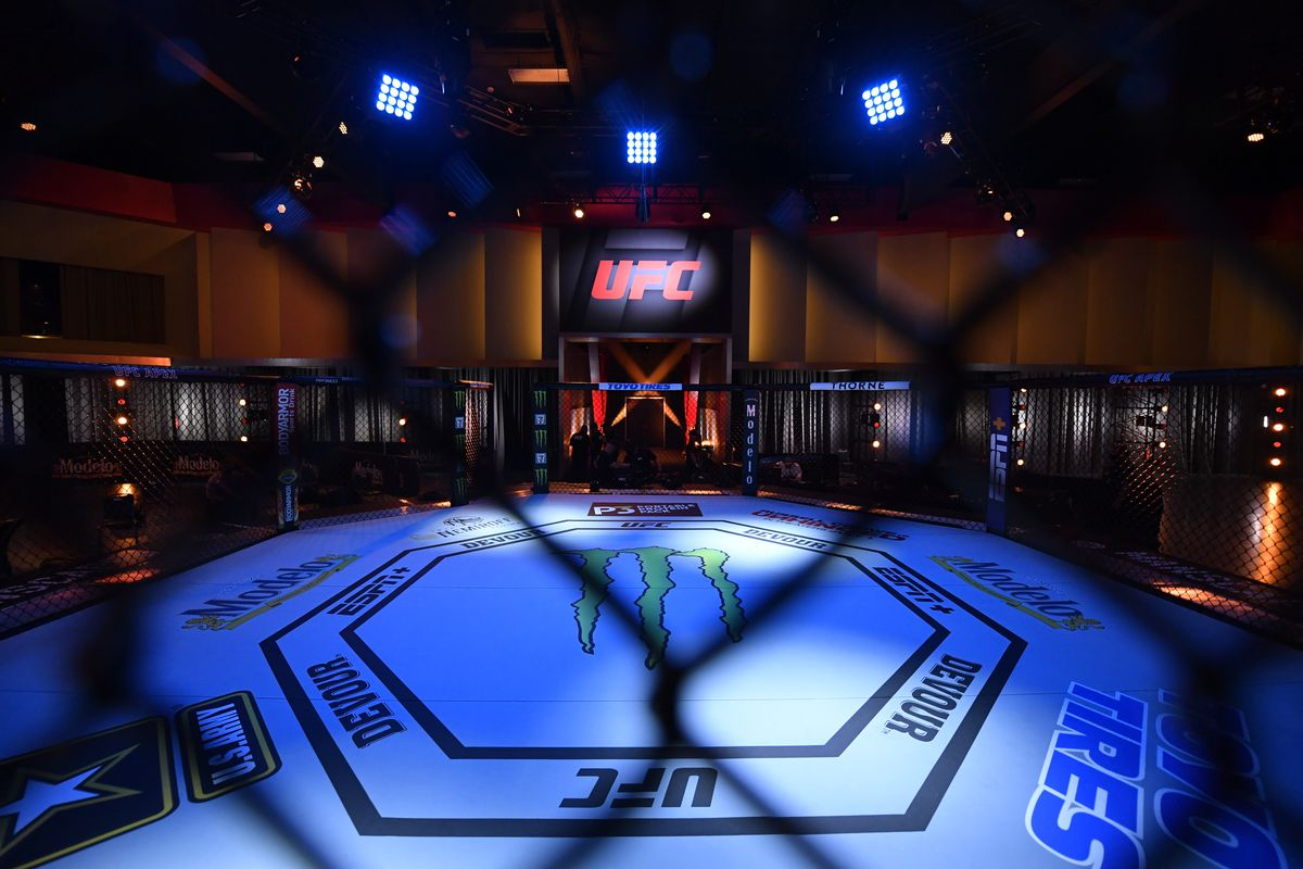 In this handout provided by UFC, A general view of the Octagon prior to the start of the UFC 250 event at UFC APEX on June 06, 2020 in Las Vegas, Nevada.