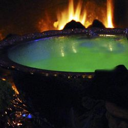 A glowing punchbowl for a Halloween party.