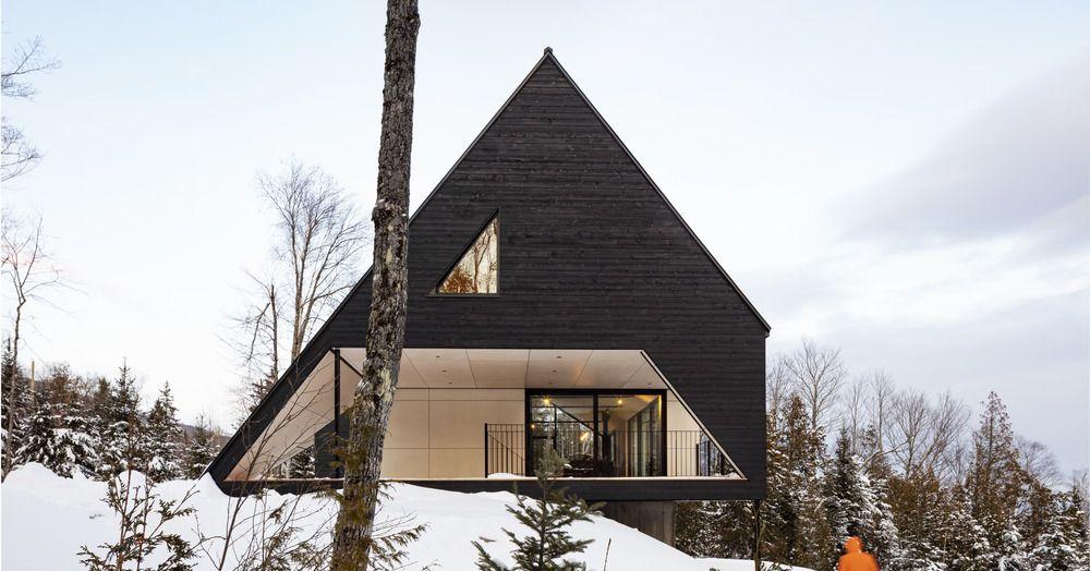 Sleek charred wood cabin puts a twist on the A-frame