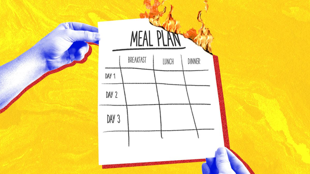 """Illustration of two hands holding a paper on fire that reads """"menu planning."""""""