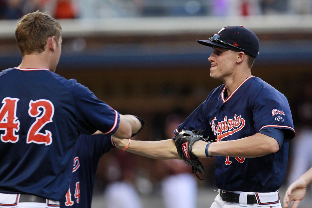 Brandon Downes helped pace the offense as Nathan Kirby threw the 5th no hitter in UVa baseball (we don't have a pic of Kirby :-( )