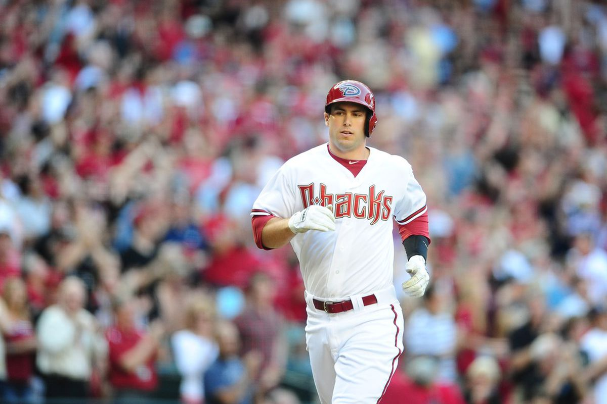 """Paul Goldschmidt does his """"Extremely Photogenic Man"""" impression running around the bases after his home run off of Tim Lincecum."""
