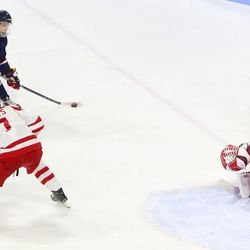 The Boston University Terriers take on the UConn Huskies in a men's college hockey game at Agganis Arena in Boston, MA on February 16, 2019.