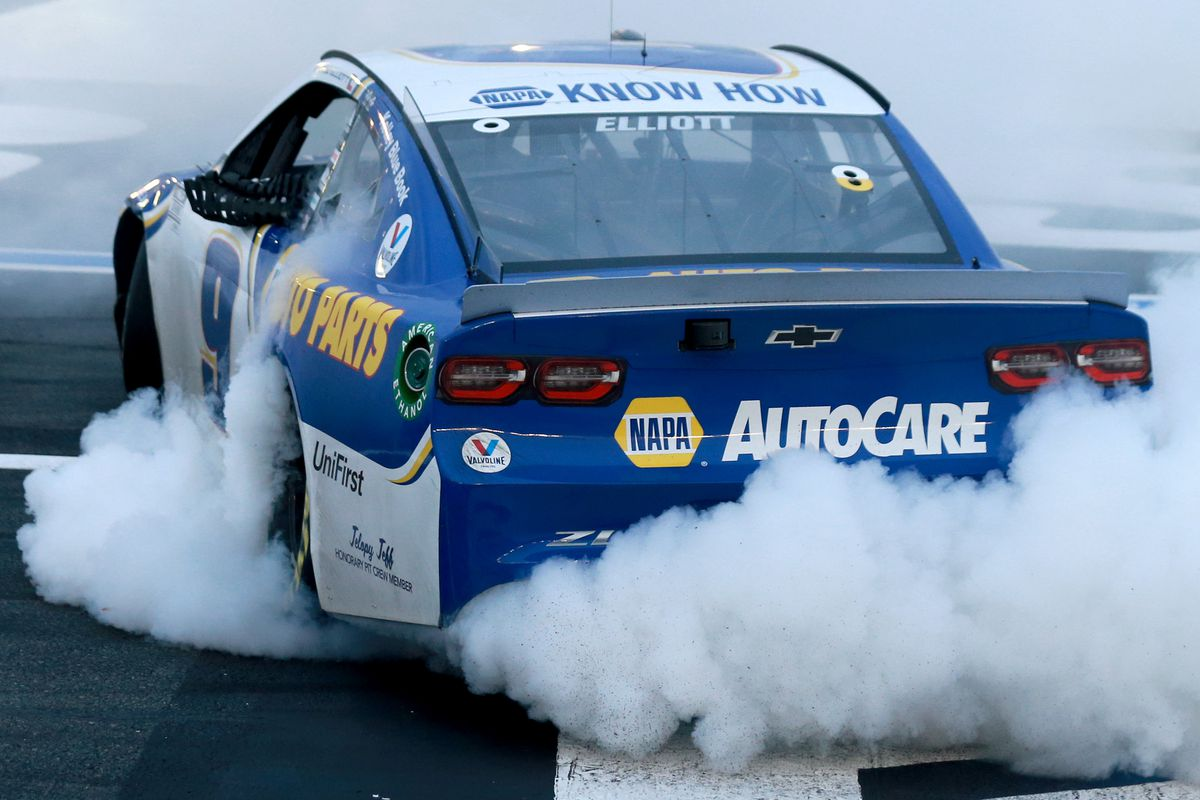 Chase Elliott, driver of the #9 NAPA Auto Parts Chevrolet, celebrates with a burnout after winning the NASCAR Cup Series Bank of America ROVAL 400 at Charlotte Motor Speedway on October 11, 2020 in Concord, North Carolina.
