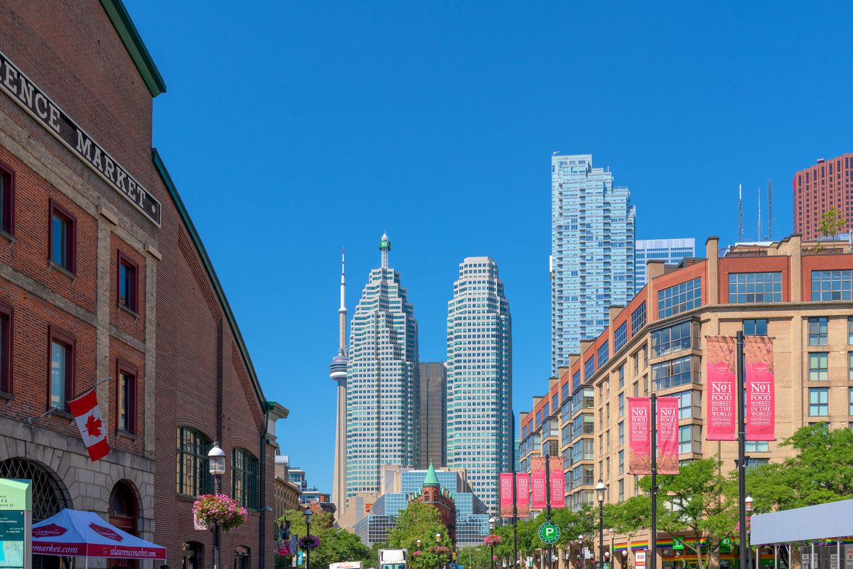 Skyline in the downtown district showing the St. Lawrence...