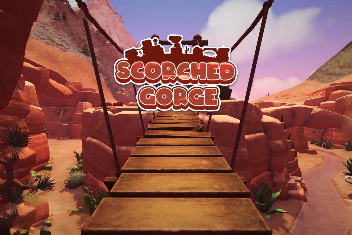 """Text that reads """"Scorched Gorge"""" appears over a bridge in a dry area with lots of cliffs"""