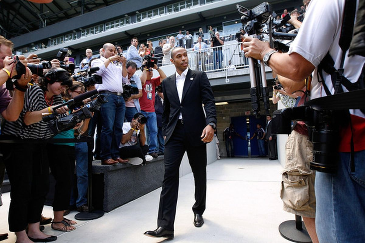 HARRISON NJ - JULY 15:  Thierry Henry walks out onto the field prior to a press conference on July 15 2010 at Red Bull Arena in Harrison New Jersey. (Photo by Mike Stobe/Getty Images for New York Red Bull)