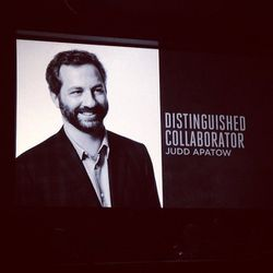 """<b>Top Moment #7</b>: Judd Apatow's hilarious acceptance speech for his Distinguished Collaborator Award. """"I'm proud of the guy who retouched this photo,"""" he said while pointing to the projected image above. Referring to that Jezebel/<i>Vogue</i> <a href="""