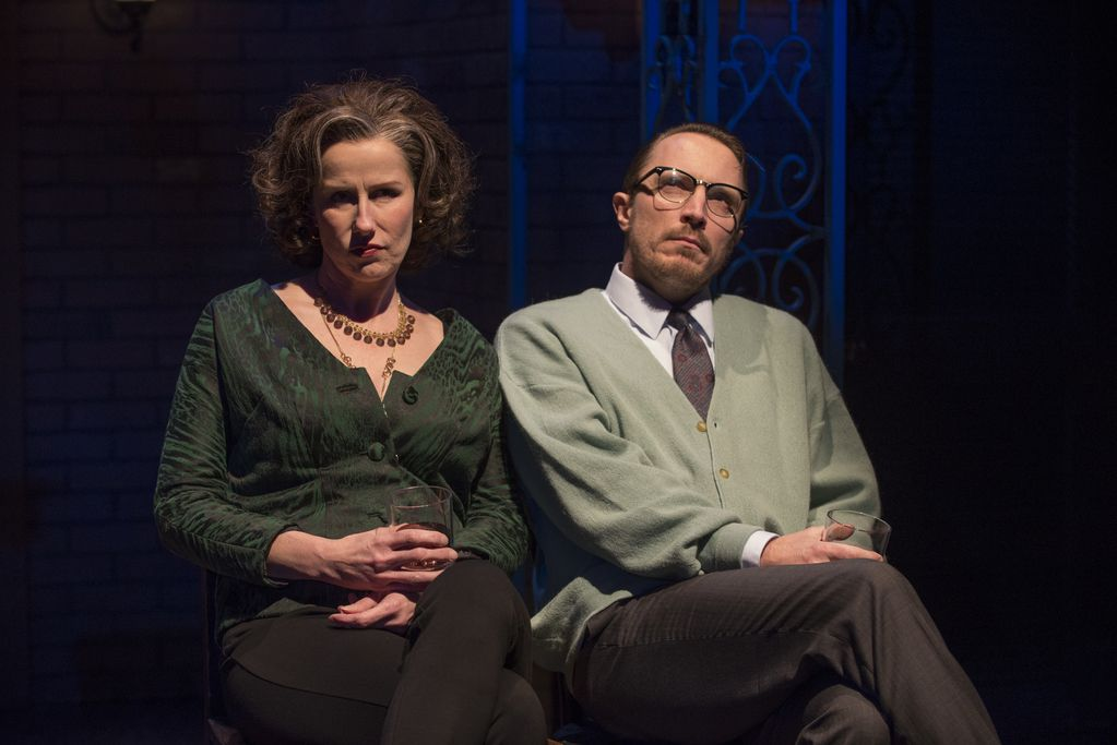 """Karen Janes Woditsch as Martha and John Hoogenakker as George in a scene from """"Death of a Streetcar Named Virginia Woolf: A Parody,"""" produced at Writers Theatre in conjunction with Second City. 