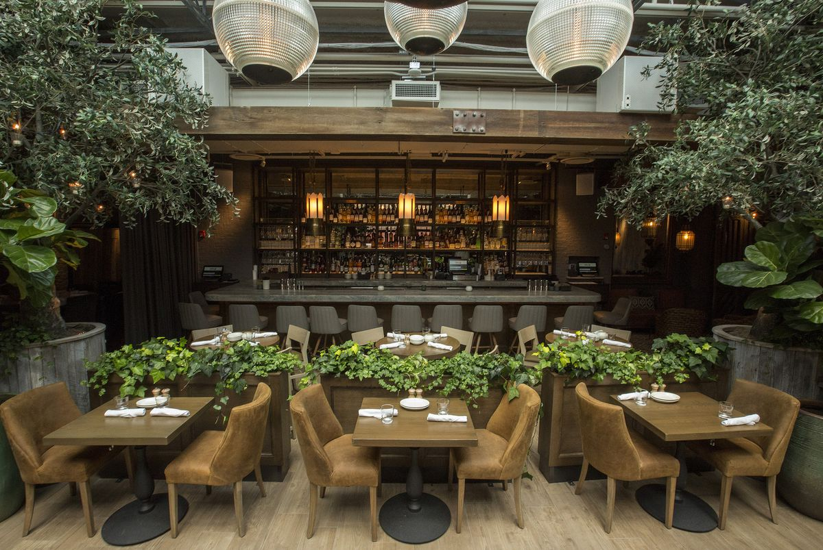 A restaurant interior with natural wood and lots of plants