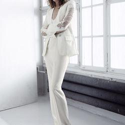 Embroidered blazer, $149; sleeveless jumpsuit, $69.95; embellished mules, $149