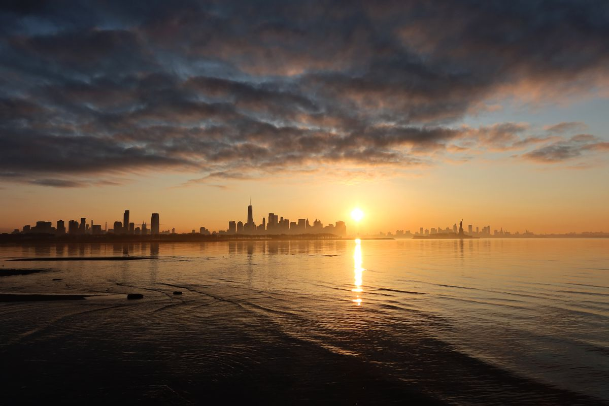 Sunrise Behind Lower Manhattan in New York City