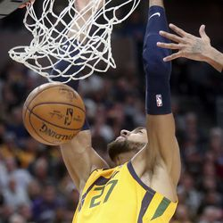 Utah Jazz center Rudy Gobert (27) dunks the ball during an NBA game against the San Antonio Spurs at Vivint Arena in Salt Lake City on Friday, Feb. 21, 2020. The Jazz lost 104-113.